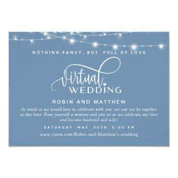dusty blue, string lights, online virtual wedding invitation