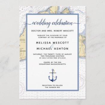 dusty blue traditional nautical event / wedding invitation