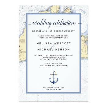 dusty blue traditional nautical event / wedding invitation