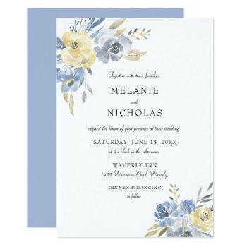 dusty blue watercolor floral wedding invitation