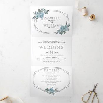 dusty blue watercolor flowers silver wedding tri-fold invitation