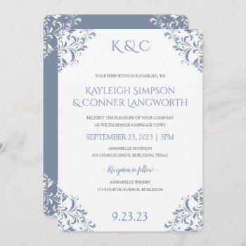 dusty blue wedding invitations   elegant vintage