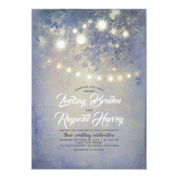 dusty blue wedding | rustic string lights invitation
