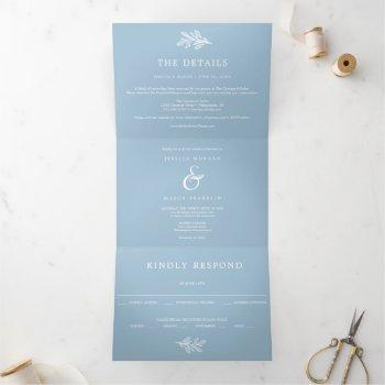 dusty blue wedding tri-fold invitations rsvp