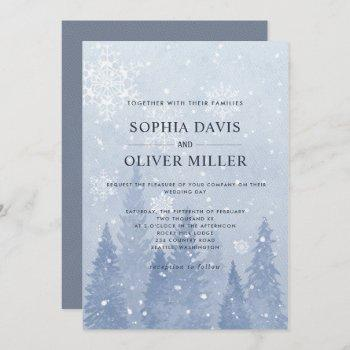 dusty blue winter wonderland invitation