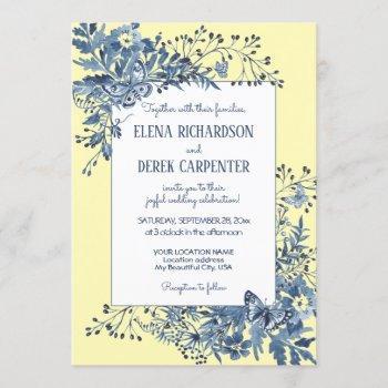 dusty blue, yellow floral watercolor art wedding invitation