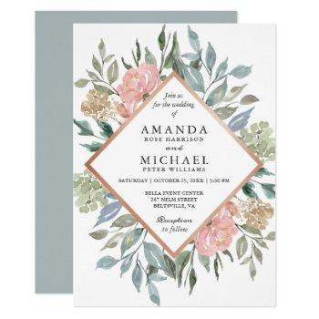 dusty pink blue green rustic wild floral wedding invitation