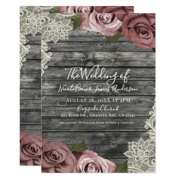 dusty pink roses grey rustic wood lace wedding invitation