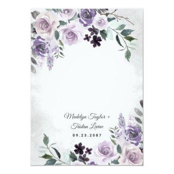 Small Dusty Purple And Silver Gray Floral Rustic Wedding Invitation Back View