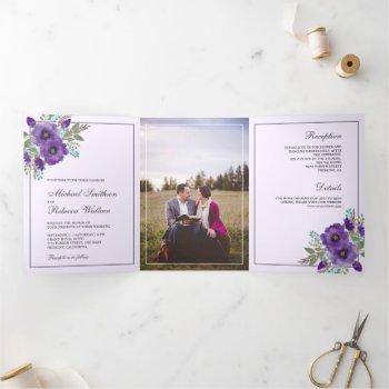 dusty purple watercolor floral photo wedding tri-fold invitation