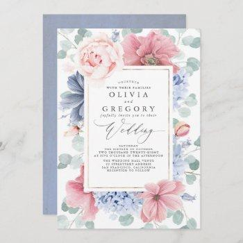 dusty rose and dusty blue flowers elegant wedding invitation