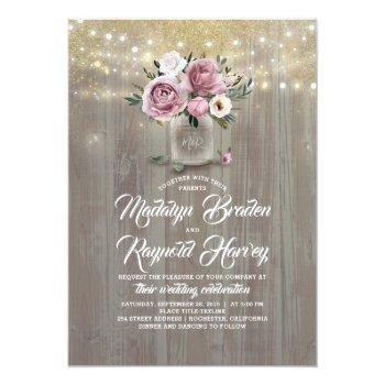 Small Dusty Rose Floral Mason Jar Rustic Wedding Invitation Front View