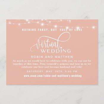 dusty rose gold with lights online virtual wedding invitation
