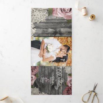 dusty rose grey wood trifold wedding program