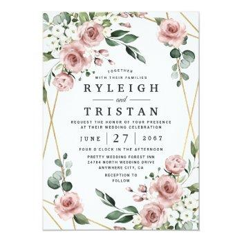 Small Dusty Rose Pink And Gold Floral Greenery Wedding Invitation Front View
