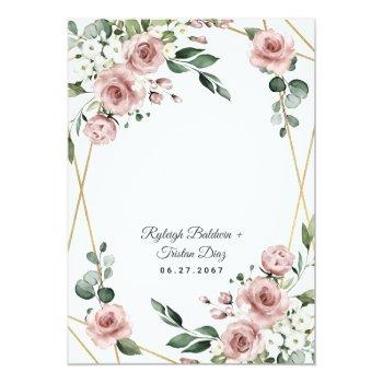 Small Dusty Rose Pink And Gold Floral Greenery Wedding Invitation Back View