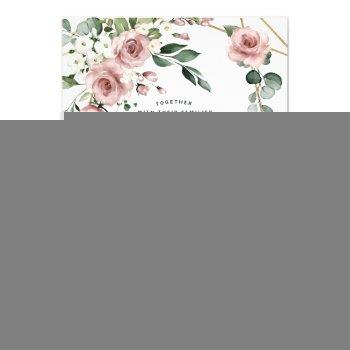 dusty rose pink and gold floral greenery wedding invitation