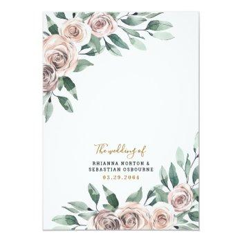 Small Dusty Rose Pink Mauve Gold Greenery Floral Wedding Invitation Back View