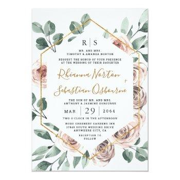 Small Dusty Rose Pink Mauve Greenery Floral Gold Wedding Invitation Front View