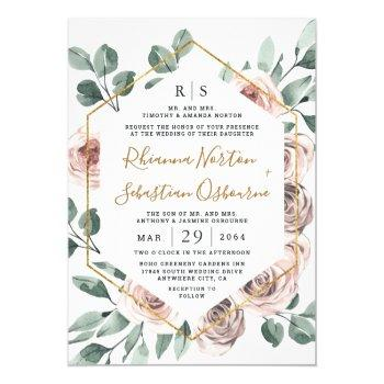 dusty rose pink mauve greenery floral gold wedding invitation