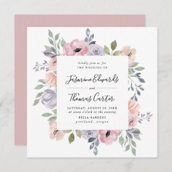 dusty rose pink watercolor floral   square wedding invitation