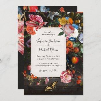 dutch master butterfly floral dark & moody wedding invitation