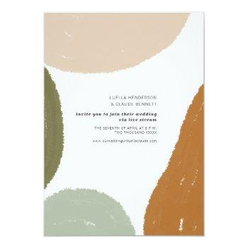 Small Earthy Abstract Minimalist Livestream Wedding Invitation Front View