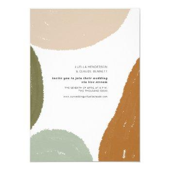 earthy abstract minimalist livestream wedding invitation