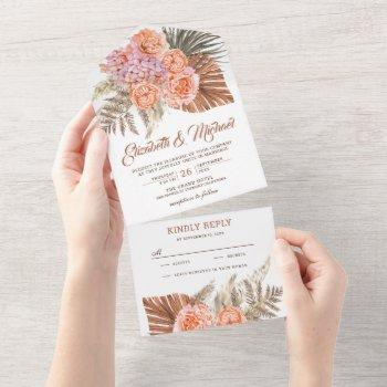 earthy tones burnt orange floral boho palm wedding all in one invitation