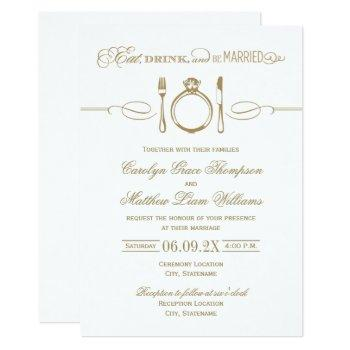 eat drink and be married antique gold wedding invitation