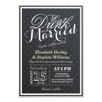 eat drink and be married black & white polka dots invitation