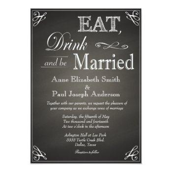 eat drink and be married chalkboard invitations