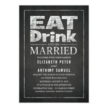 eat drink and be married unique creative wedding invitation