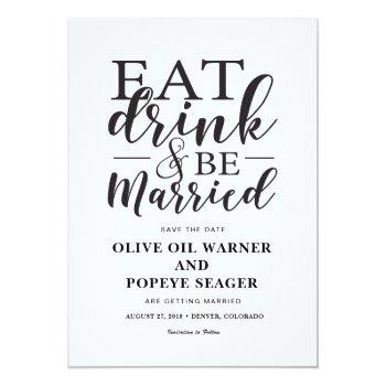 eat drink and be married wedding save the date invitation