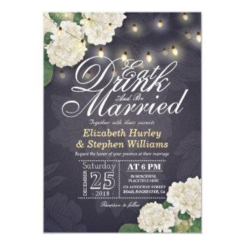 eat drink & be married flower string light wedding invitation