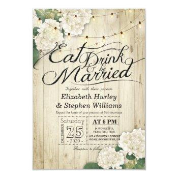 eat drink & be married wedding flowers wood lights invitation