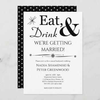 eat drink getting married casual backyard wedding invitation