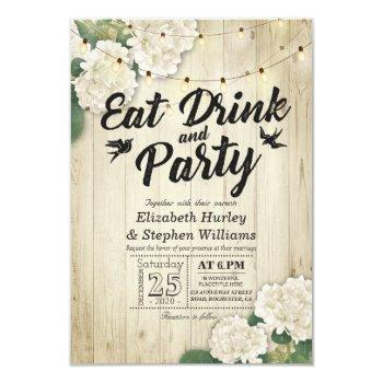 eat drink & party wedding flower wood string light invitation
