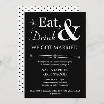 eat drink we got married elopement casual party invitation