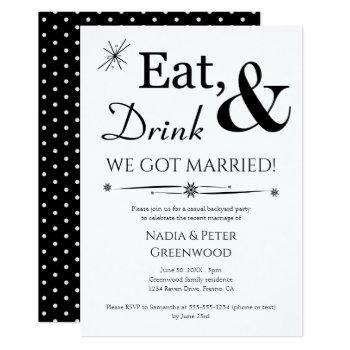 eat drink we got married elopement party invitation