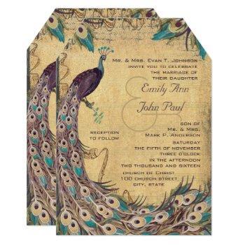 eggplant aqua peacock vintage 3 feathers invitation