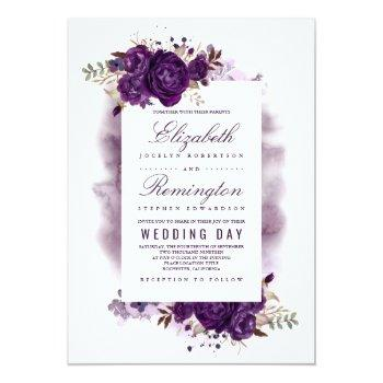 Small Eggplant Purple Floral Elegant Watercolor Wedding Invitation Front View