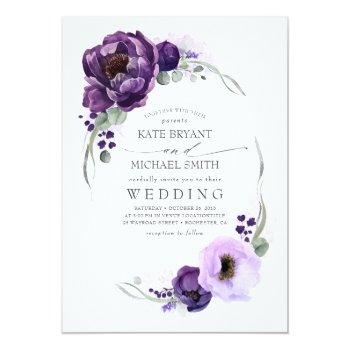 Small Eggplant Purple Peony And Greenery Silver Wedding Invitation Front View