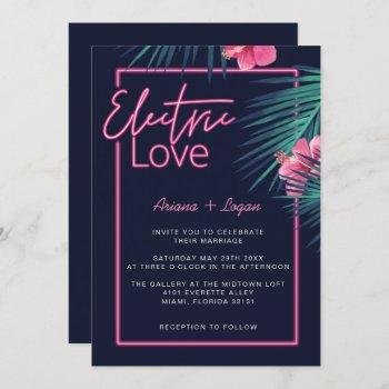 electric love neon pink tropical retro wedding invitation