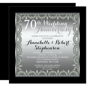 elegant 70th silver and diamonds anniversary invitation