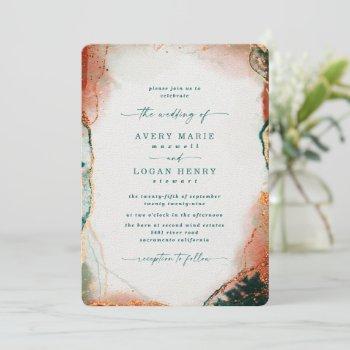 elegant abstract watercolor teal & copper wedding invitation