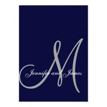 elegant affair navy blue grey initial wedding invitation