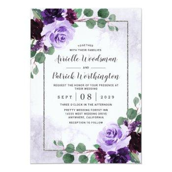 Small Elegant Airy Boho Floral Purple And Silver Wedding Invitation Front View