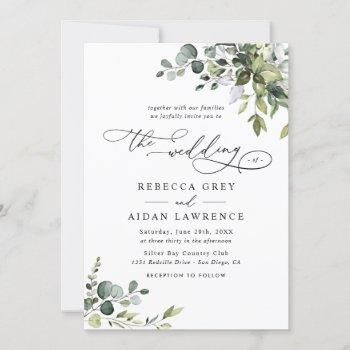 elegant all in one watercolor greenery wedding invitation