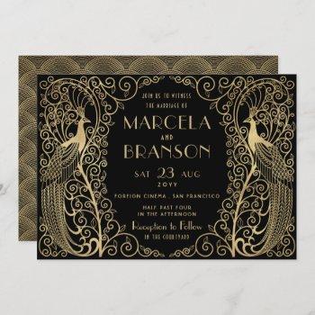 elegant art deco peacocks wedding gold on black invitation